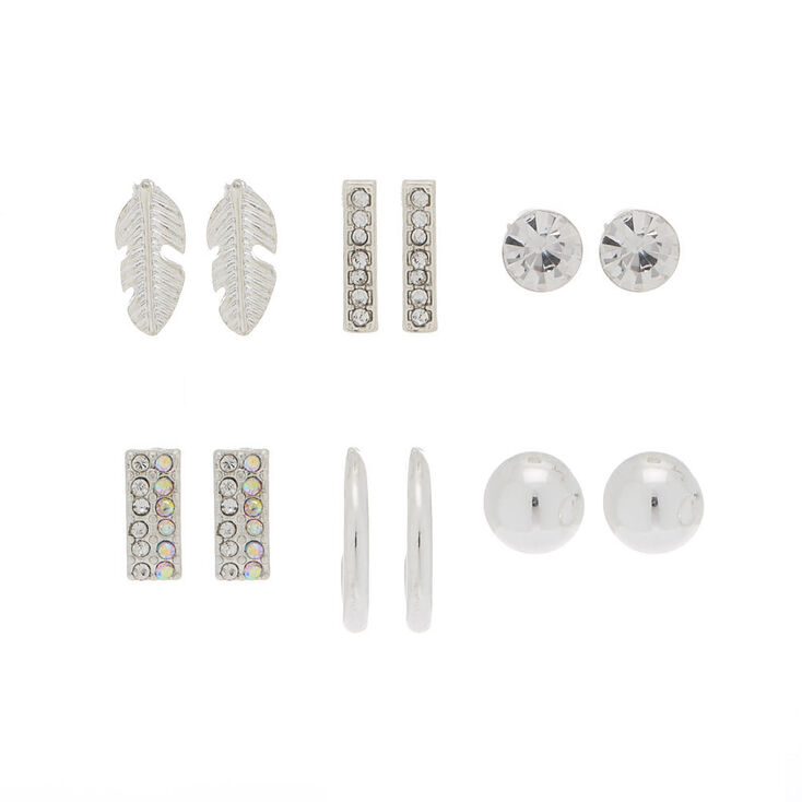 Silver Stud Earrings Set - 6 Pack,