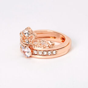 Rose Gold Cubic Zirconia Tiara 2-in-1 Ring,