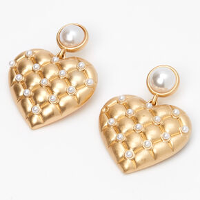 """Gold 1"""" Quilted Pearl Heart Drop Earrings,"""