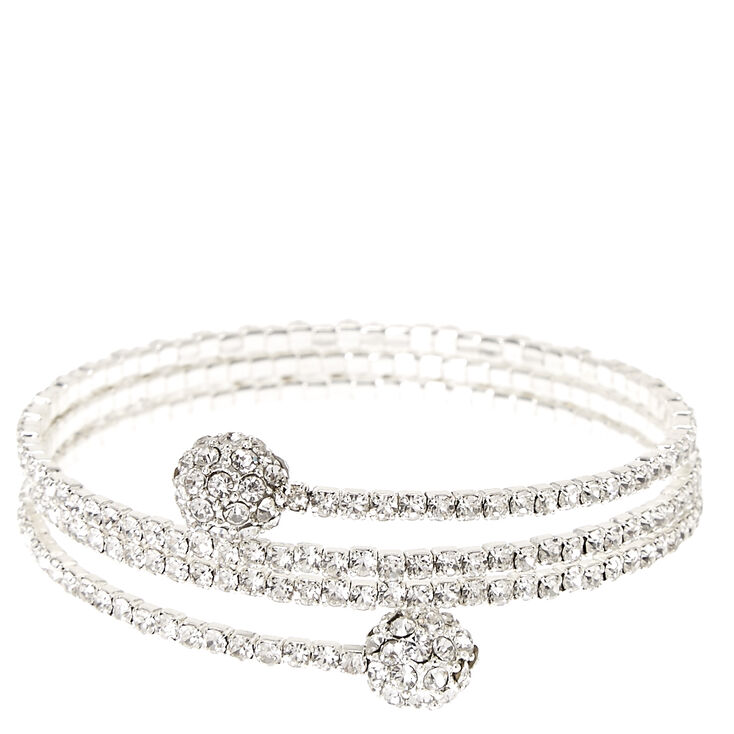 Silver Tone Faux Crystal Fireball Coil Bracelet,
