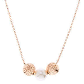 Rose Gold And Pearl Bauble Necklace,