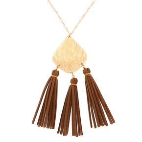 Gold Suede Tassel Long Pendant Necklace,