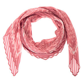 Square Mixed Print Fashion Scarf - Pink,