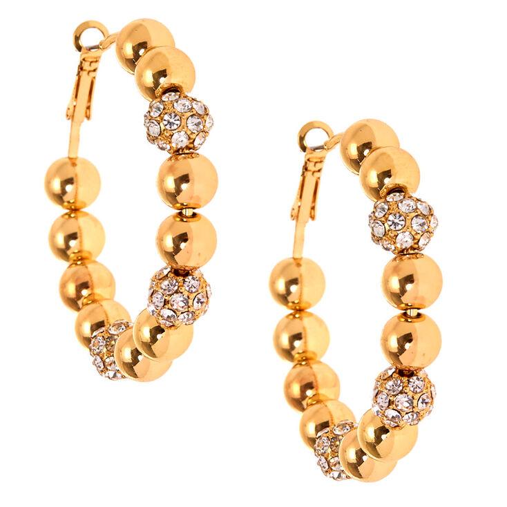 Gold 50MM Fireball Hoop Earrings,