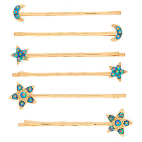 Gold Anodized Celestial Bobby Pins - 6 Pack,