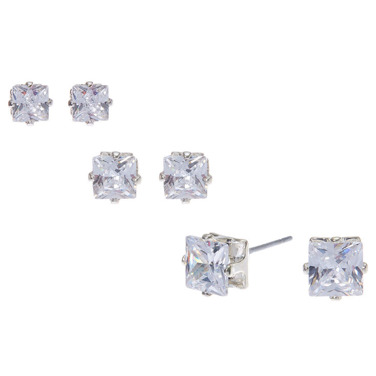 Cubic Zirconia T Prong Set Square Studs  - 3 Pack,