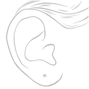 Sterling Silver Graduated Pearl Stud Earrings - Ivory, 3 Pack,