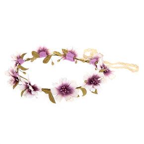 Purple Glitter Flower Crown,