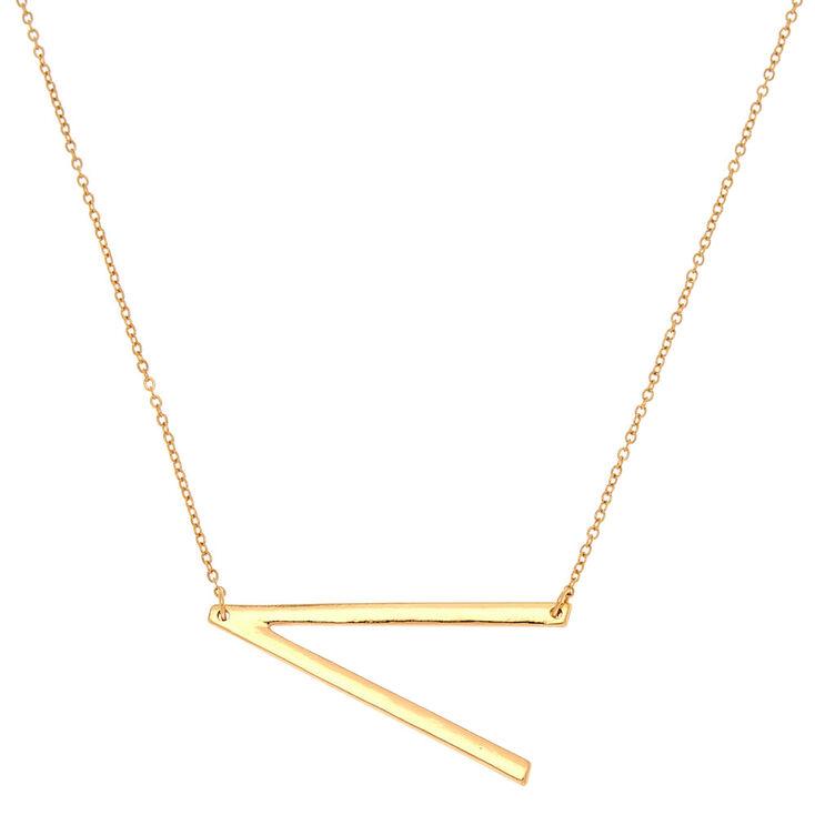 Oversized Initial Pendant Necklace - V,