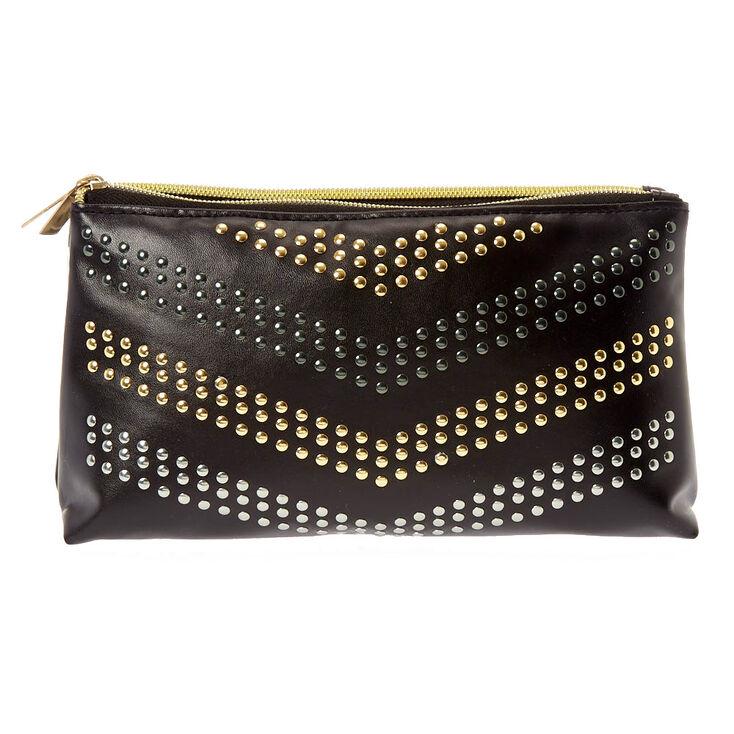 Black Faux Leather Studded Folding Makeup Bag