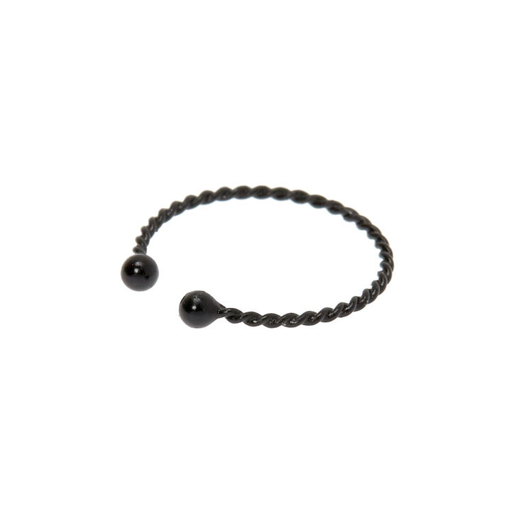 Hematite Braided Faux Hoop Nose Ring,