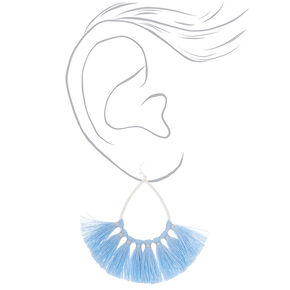"3"" Tassel Teardrop Drop Earrings - Baby Blue,"