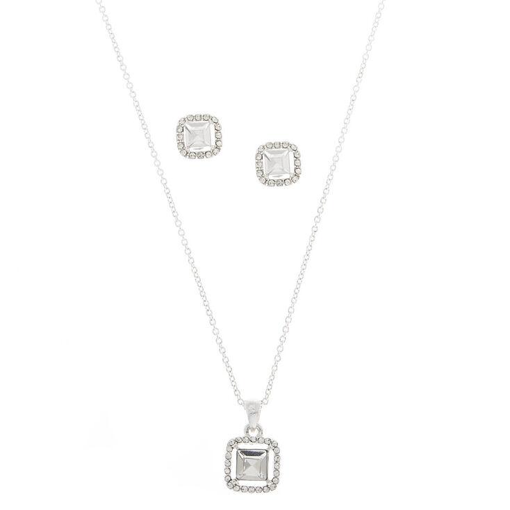 Silver Rhinestone Square Glass Jewelry Set - 2,