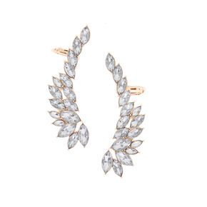 "Simulated Crystal 2"" Ear Crawler Earrings,"