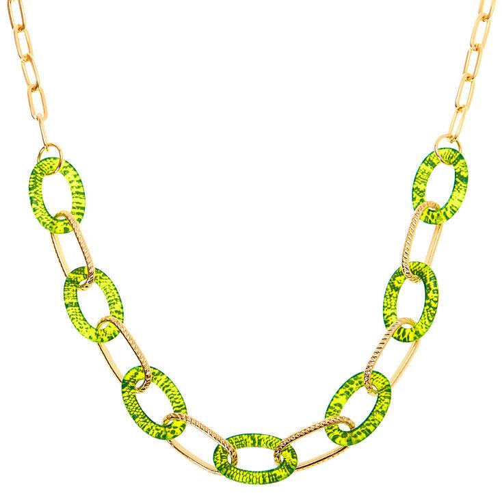 Gold Neon Snakeskin Statement Necklace - Yellow,
