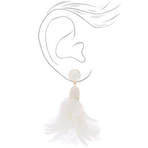 """3"""" Feather Duster Earrings - White,"""
