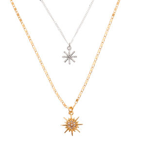 Mixed Metal Starburst Pendant Necklaces - 2 Pack,