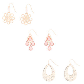 Rose Gold Delicate Drop Earrings - 3 Pack,