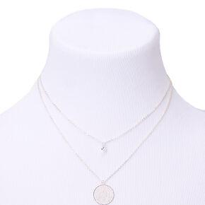 Silver Cubic Zirconia Vine Multi Strand Pendant Necklace,