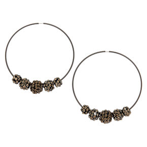 Hematite 70MM Beaded Hoop Earrings,