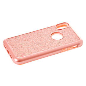 Rose Gold Glitter Protective Phone Case - Fits iPhone XS Max,