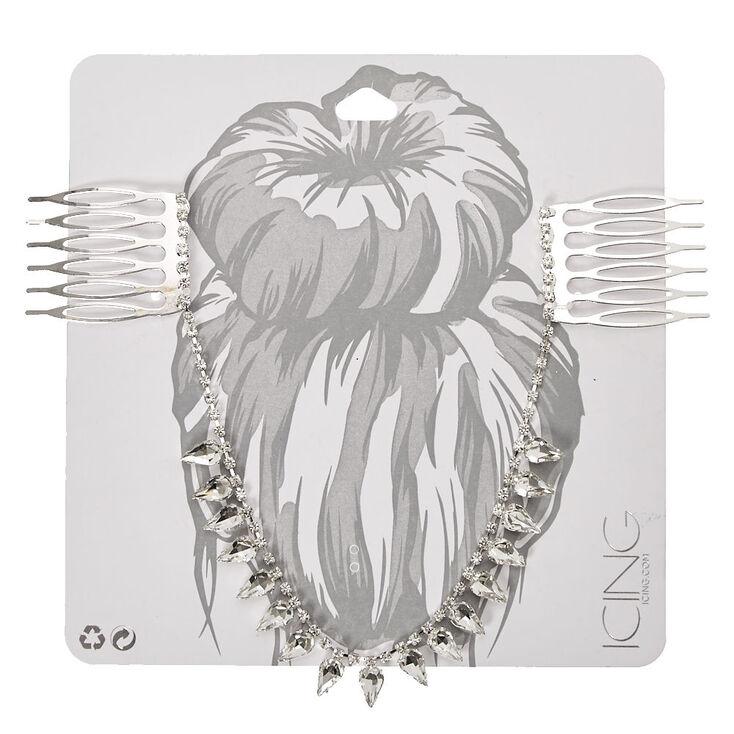 Silver Tone Clear Crystal Teardrop Hair Swag,