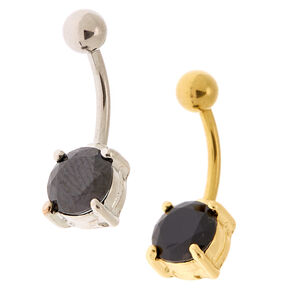 Silver 14G Stone Belly Rings - Black, 2 Pack,