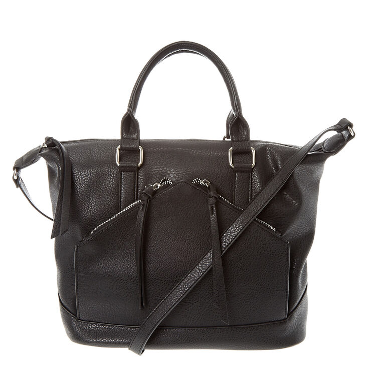 Black Faux Leather Satchel Bag,