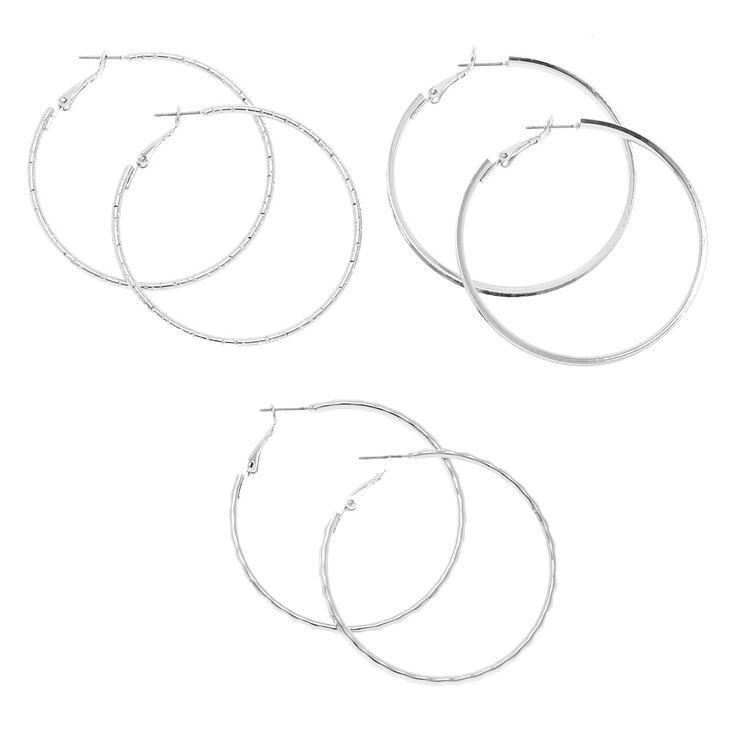Silver 50MM Hoop Earrings - 3 Pack,