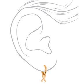 Gold 10MM Initial Huggie Hoop Earrings - X,