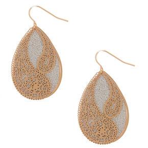 """Gold 1.5"""" Glitter Filigree Drop Earrings,"""
