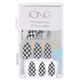 Black & White Checkered Stiletto Faux Nail Set - 24 Pack,