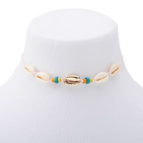 Neon Beaded Cowrie Choker Necklace - White,