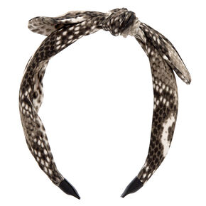 Snakeskin Knotted Bow Headband - Gray,