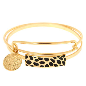 Gold Cheetah Bangle Bracelets - 2 Pack,