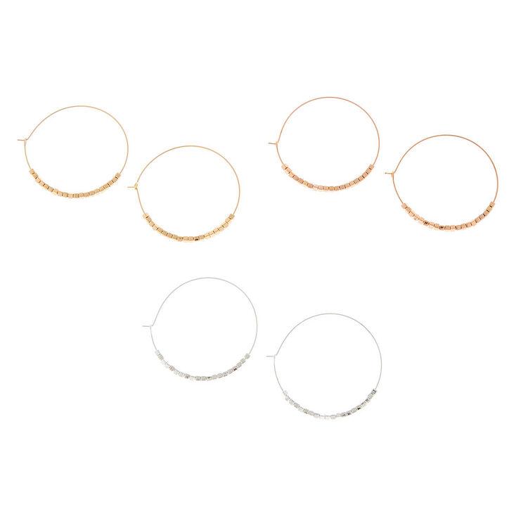 Mixed Metal Beaded Hoop Earrings - 3 Pack,