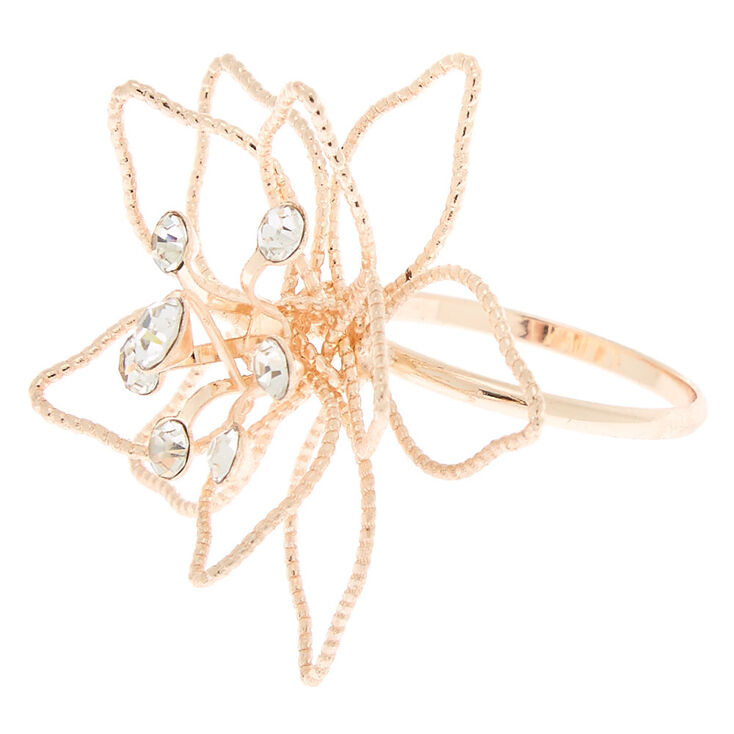 Rose Gold Wire Flower Ring,