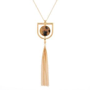 Gold Resin Tortoiseshell Tassel Long Pendant Necklace,
