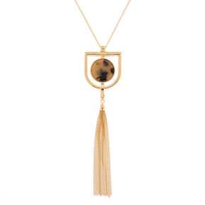 Gold Resin Tortoiseshell Tassel Long Pendant Necklace,