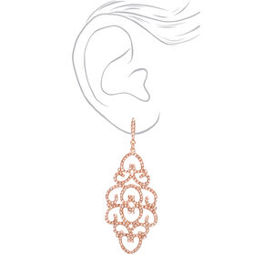 "Rose Gold 2.5"" Heart Filigree Drop Earrings,"