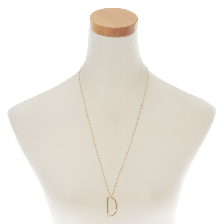 Oversized Initial Stone Pendant Necklace - D,