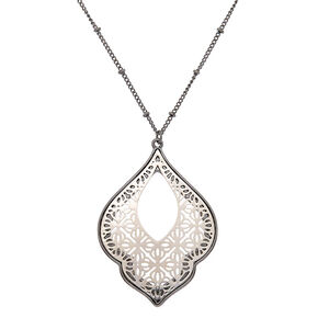 Hematite Filigree Long Pendant Necklace,