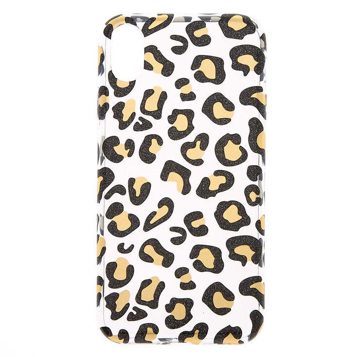 Black & Gold Glitter Leopard Phone Case - Fits iPhone XR,