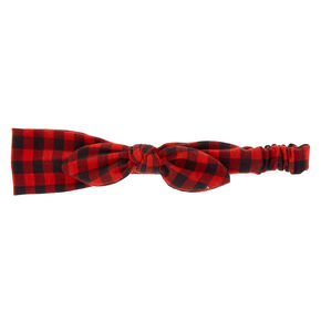 Buffalo Check Bow Headwrap - Red,