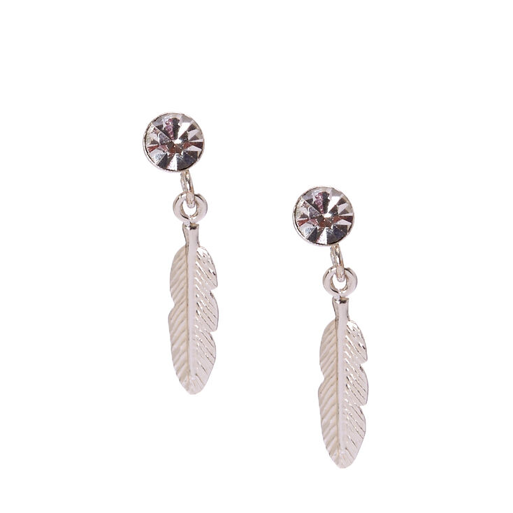 Sterling Silver Crystal Feather Drop Earrings,