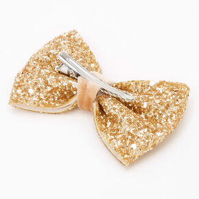 Glitter Mini Hair Bow Clip - Gold,