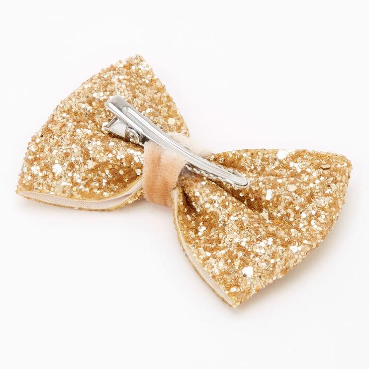 Glitter Mini Hair Bow Clip - Gold,
