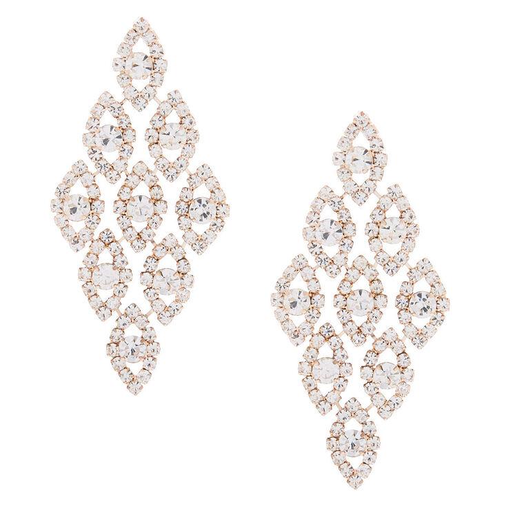 """Rose Gold Glass Rhinestone 2.5"""" Chandelier Earrings,"""