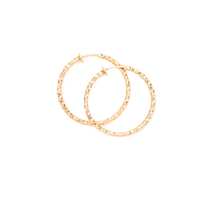 30MM Diamond Cut Spring Clip Hoop Earrings,
