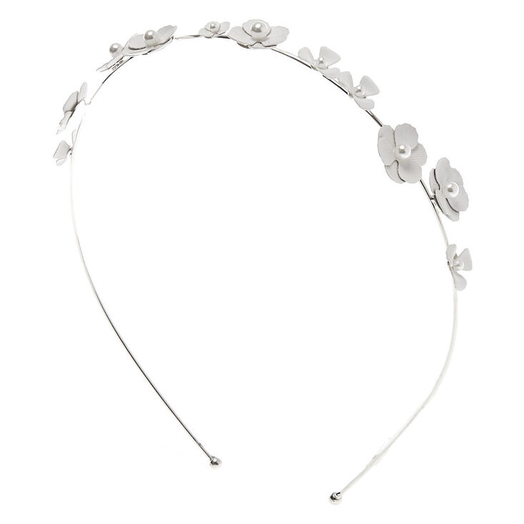 Pearl Flower Headband - White,